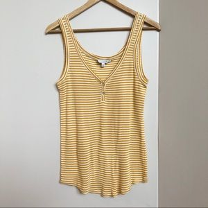 Lucky Brand Yellow and White Tiny Stripes Tank